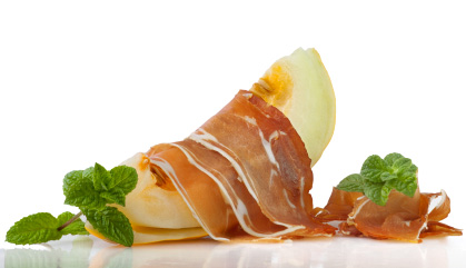 Receptes amb pernil: Pernil ibèric amb meló