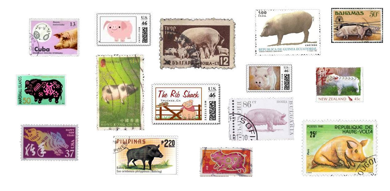 Segells del món amb una cosa en comú ... el porc